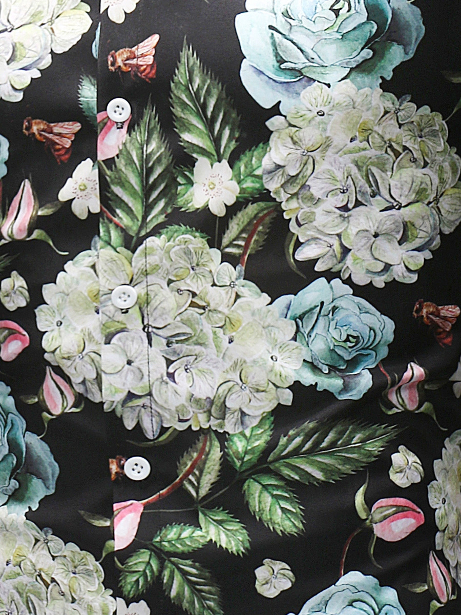 3D Flowers Print Long Sleeve Shirt COLORMIX XL