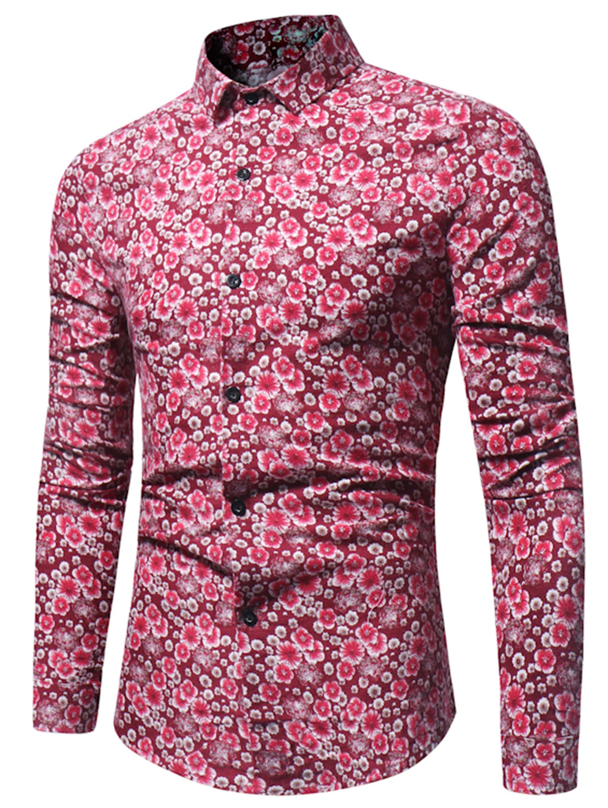 Casual Flower Printed Long Sleeve Shirt RED 2XL
