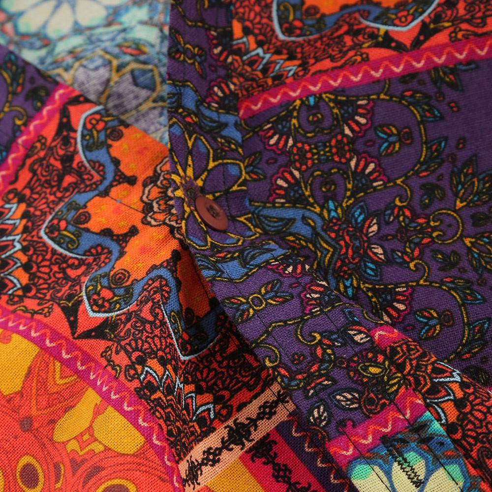 Ethnic Tribal Flowers Print Casual Shirt  MULTI S