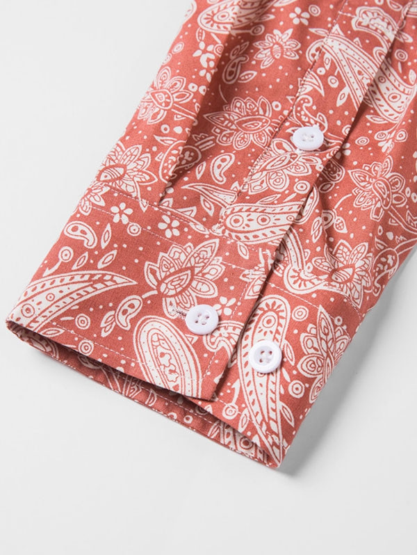 Button Up Longline Printed Shirt ROSSO RED S