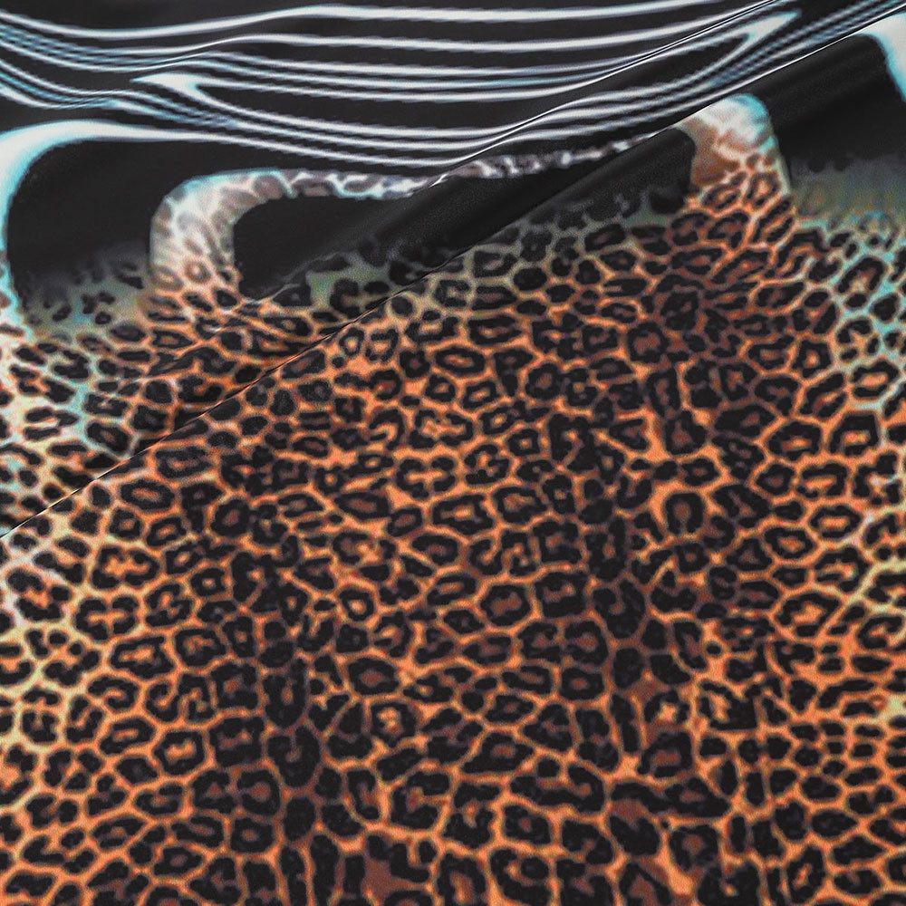 Leopard Print Short Sleeves Tee WOOD XS