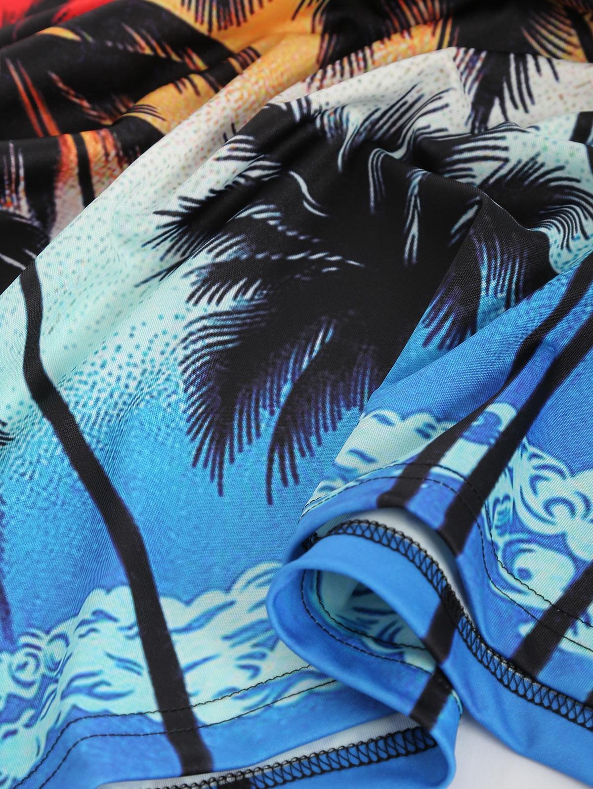 Palm Tree Print Short Sleeves Tee LAVA RED XS