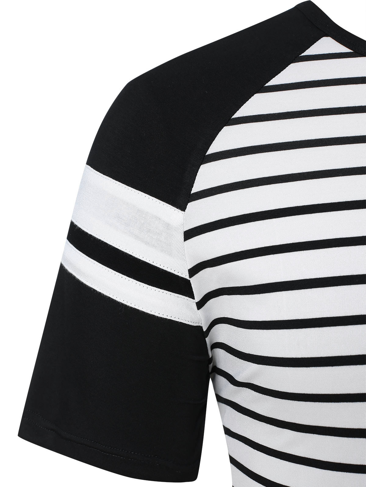 Raglan Sleeve Striped Panel Top WHITE 2XL