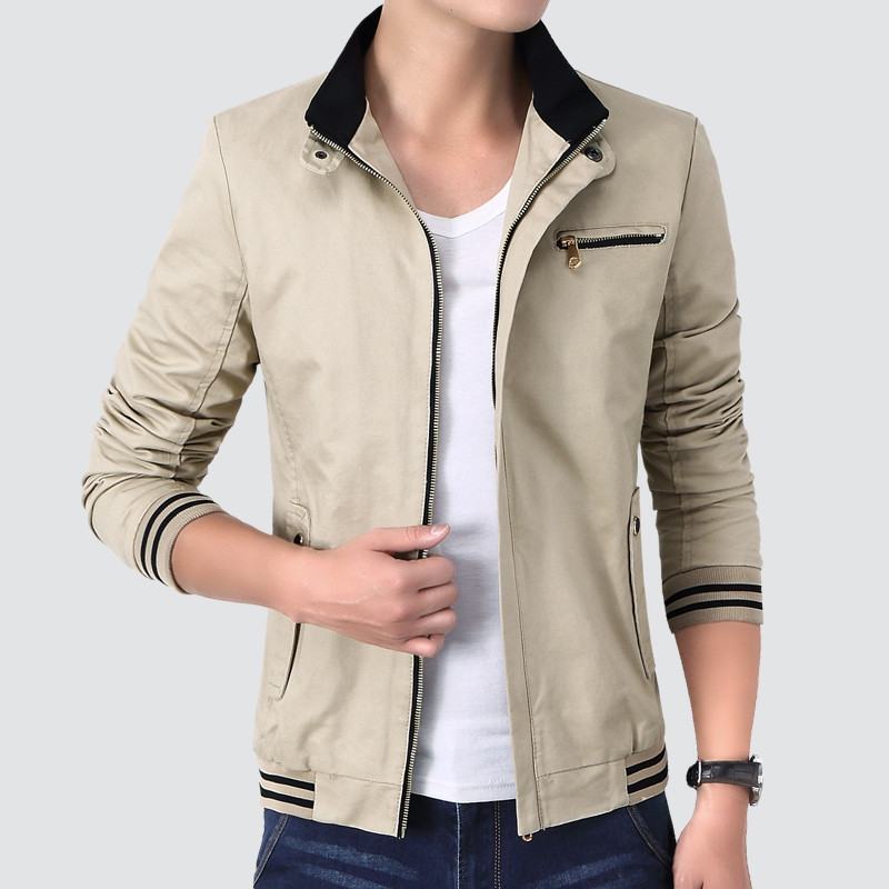 Men's Fashion Simple Jacket LIGHT KHAKI L