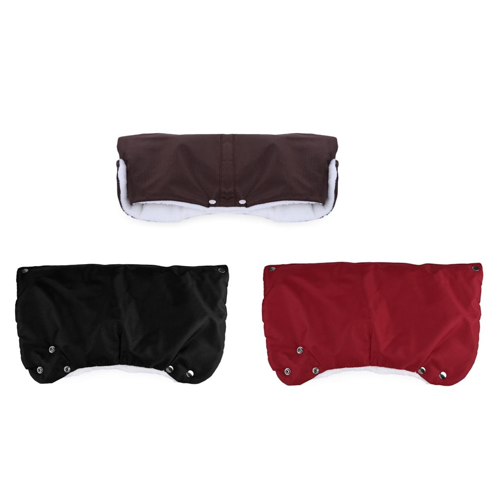 Chunky Fur Fleece Waterproof Stroller Warmer Gloves RED