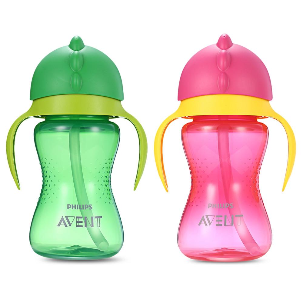 Philips Avent 10oz / 300ml Baby Handle Drinking Straw Bottle GREEN