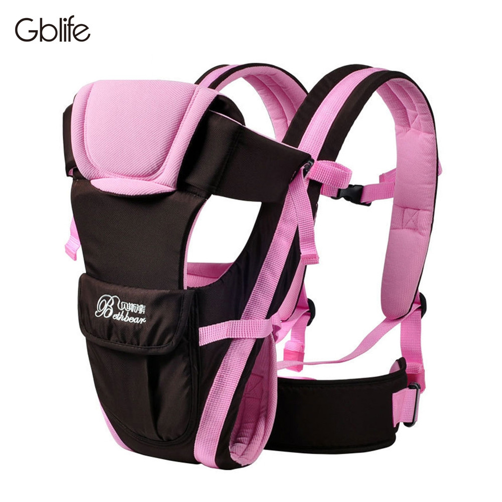 GBlife Multifunctional Breathable Adjustable Buckle Mesh Wrap Baby Carrier Backpack HOT PINK