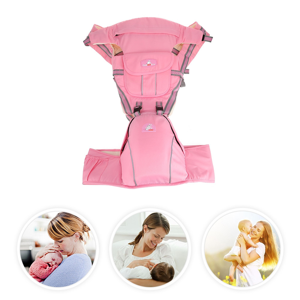 Multifunctional Baby Carrier Stool Carry Backpack PINK
