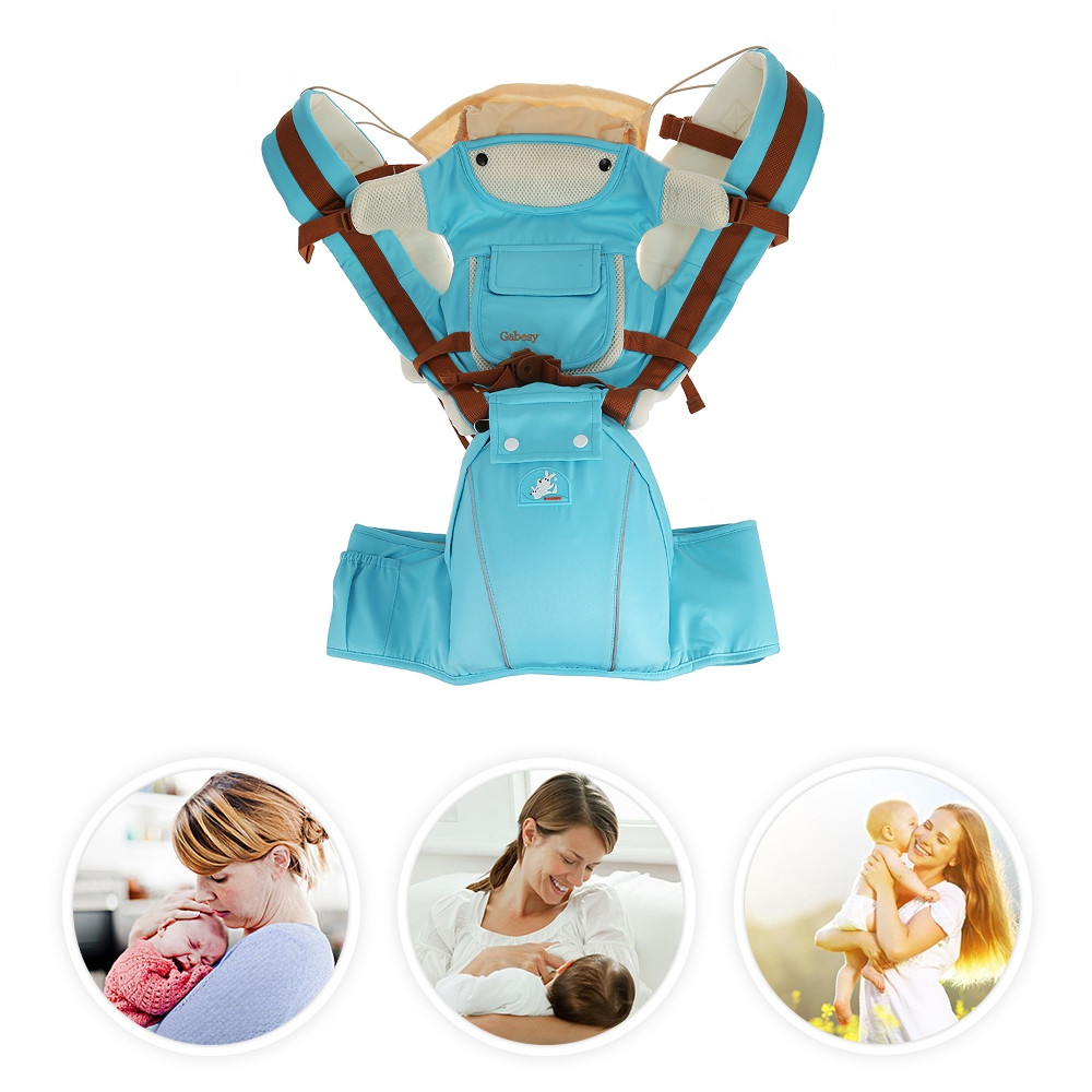 Multifunctional Breathable Baby Carrier Infant Baby Sling Pouch AZURE