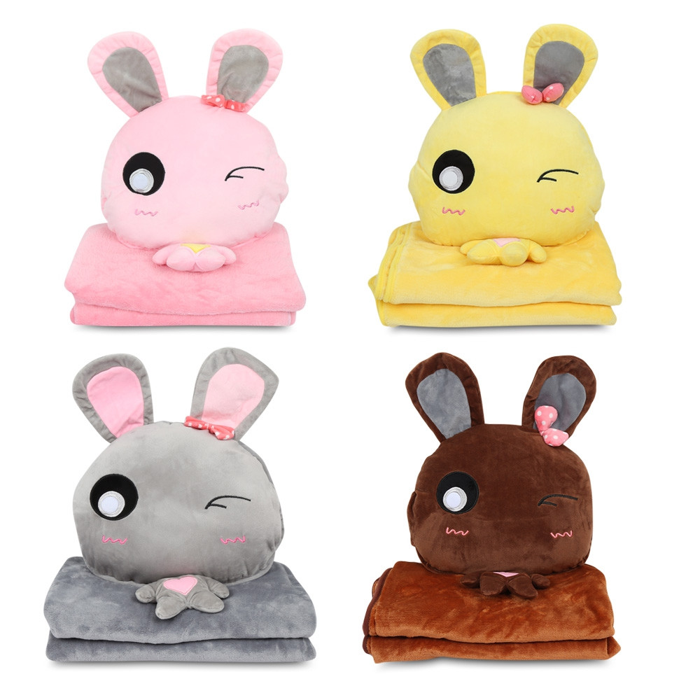 Cartoon Throw Pillow Blanket Set Plush Stuffed Toy for Home Travel  PINK
