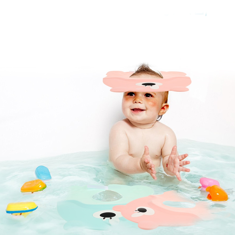 Baby Bathing Shower Cap Shampooing Ear Protection Hat PINK