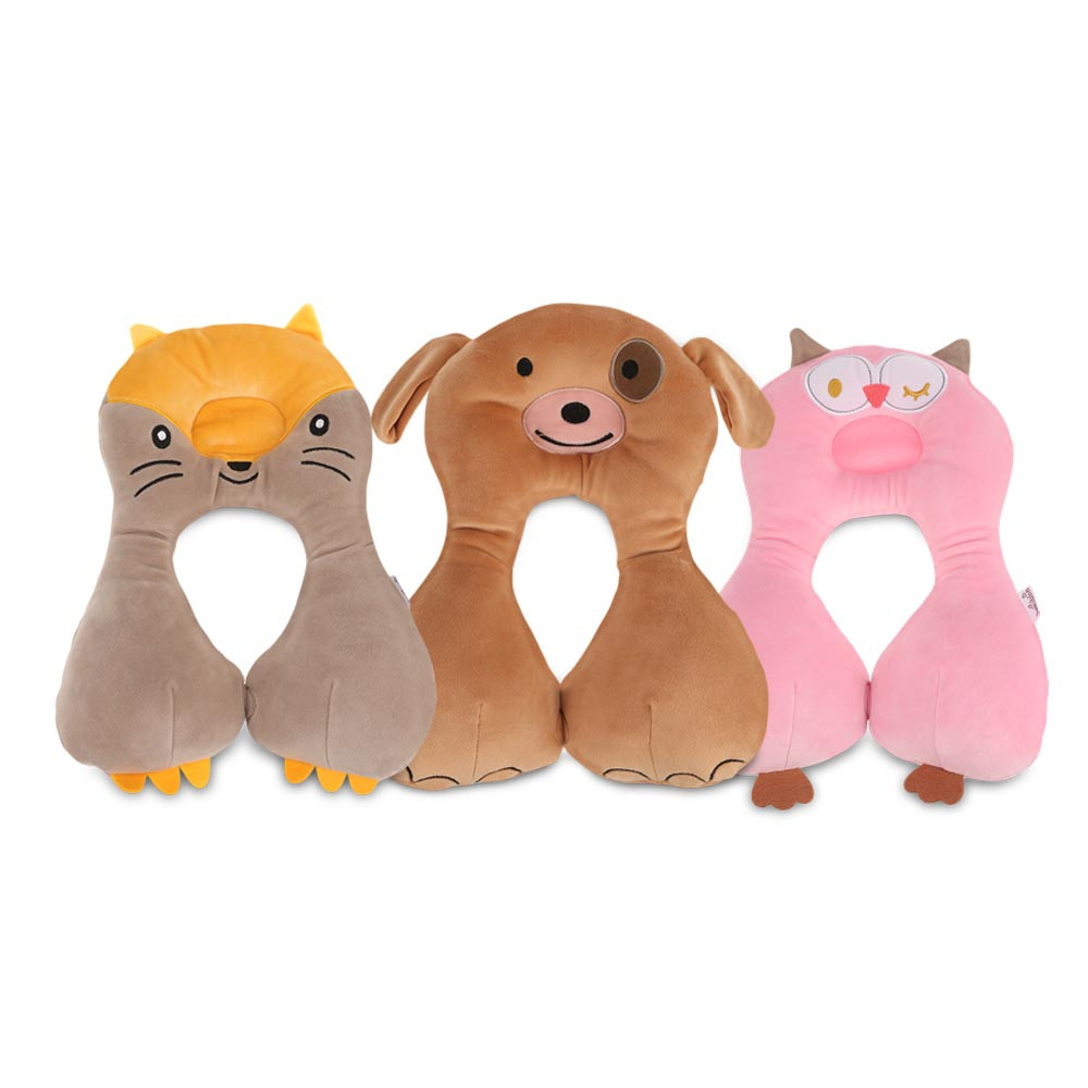 Cartoon Animal Baby Pillow Sleeping Headrest Neck Protection U-shaped Cushion CAMEL BROWN