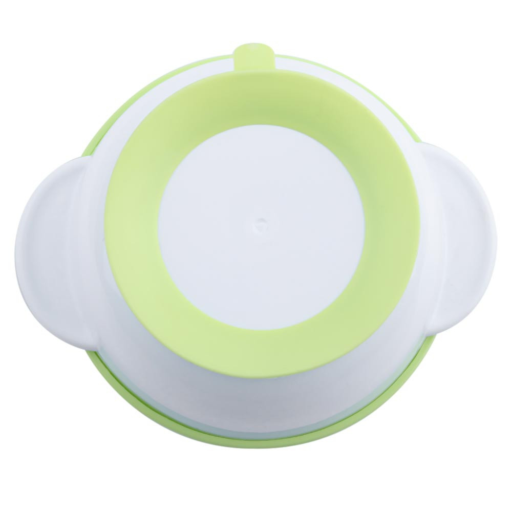 Thermostability Babies Suction Bowl with Lid Scoop Anti-slip Design GREEN
