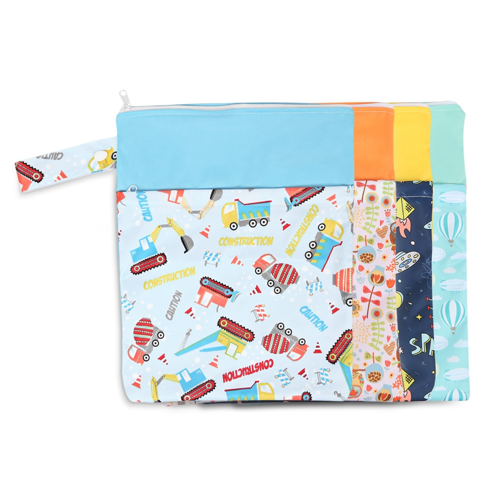 Cute Double Layers Portable Reusable Printed Babies Nappy Diaper Bag ROBIN EGG BLUE