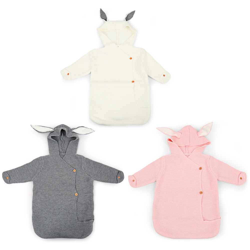 Baby Wearable Cute Rabbit Shape Knitted Swaddle Blanket Infant Sleeping Bag GRAY