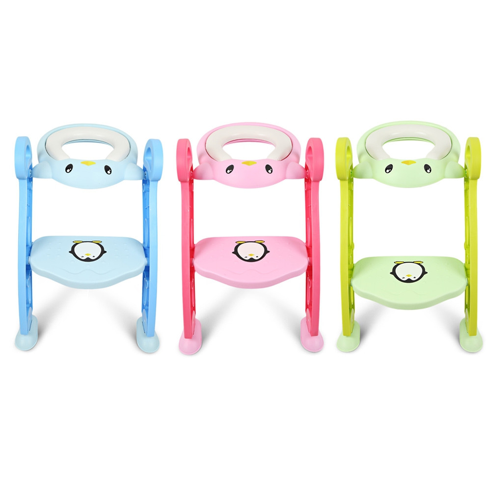 Baby Toddler Potty Training Seat with Non-slip Toilet Ladder Adjustable PP NEBULA GREEN