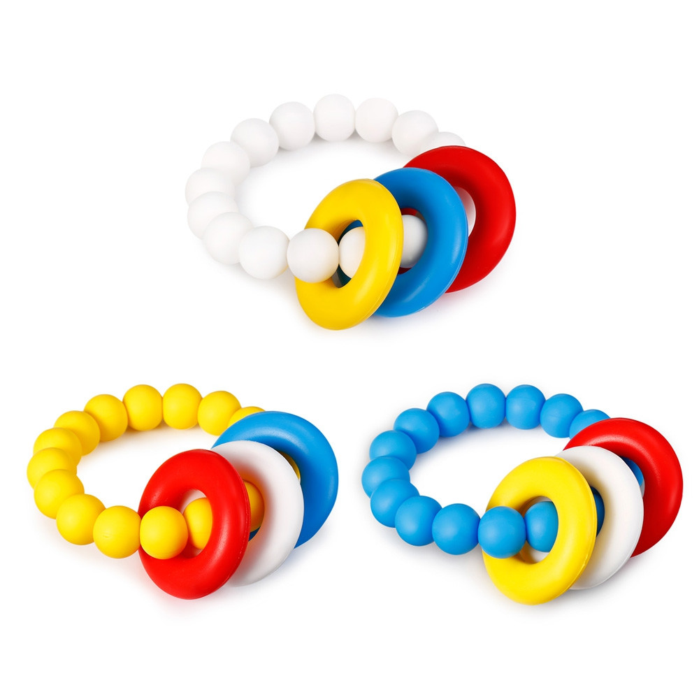 YJ001 Bracelet Silicone Teething Phase Toy for Infants Children WHITE