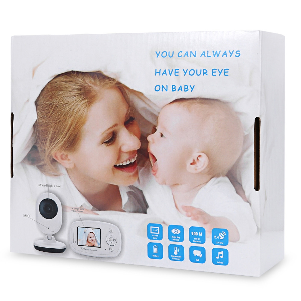 2.4GHz LCD Display Night Vision Wireless Video Baby Monitor WHITE US PLUG