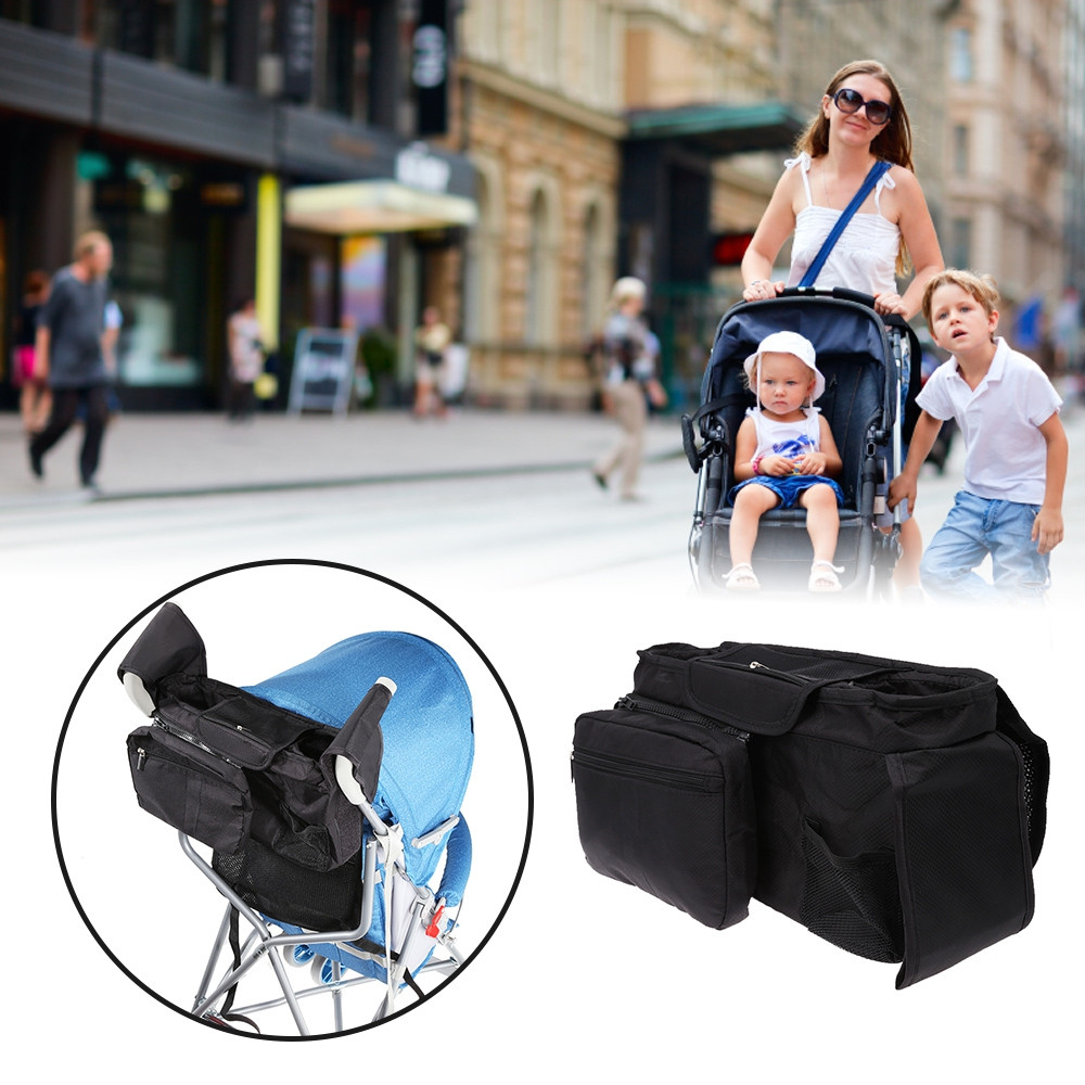 Multifunctional Baby Stroller Organizer Bag BLACK