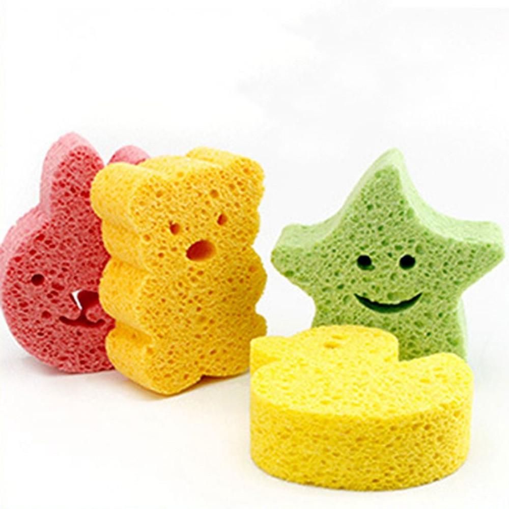 Cartoon Newborn Baby Bath Puff High Absorbent Animal Shape PVA Bath Sponge for Kids Body YELLOW