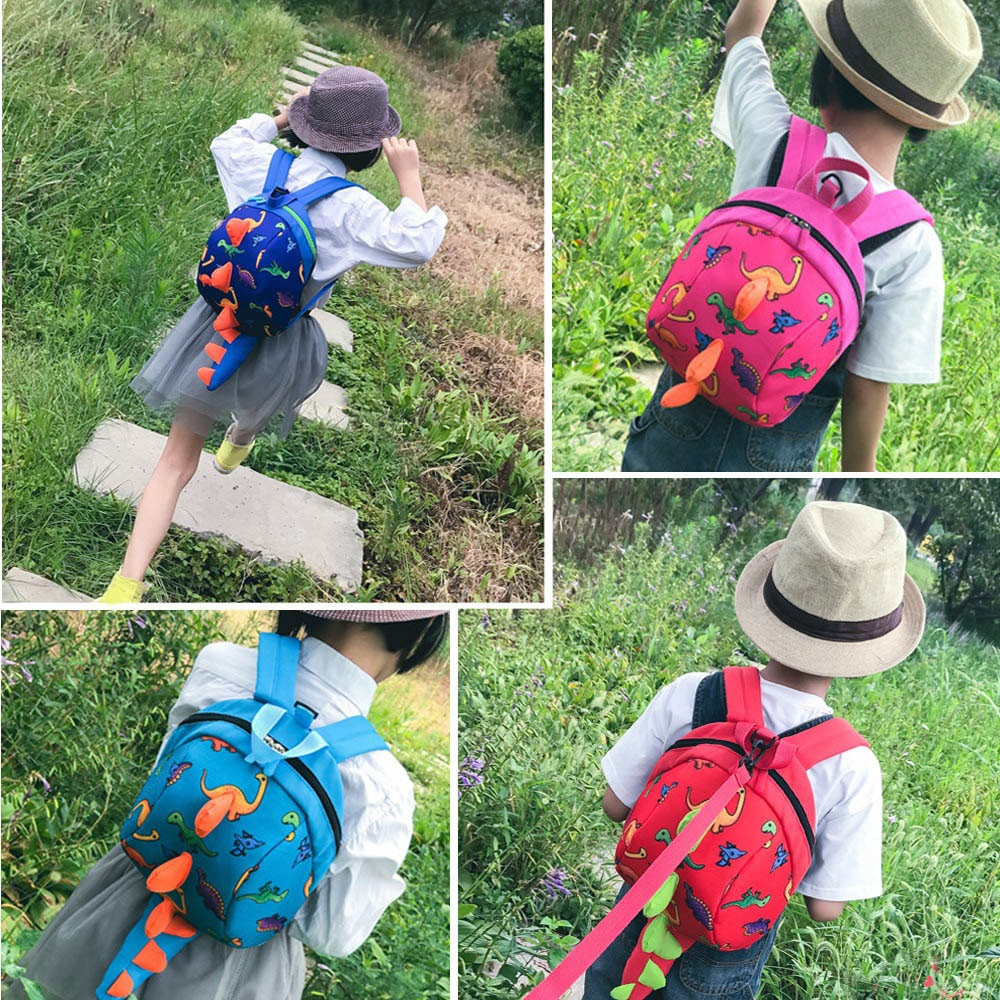 Lovely Cartoon Dinosaur Shape Kindergarten Backpack RED