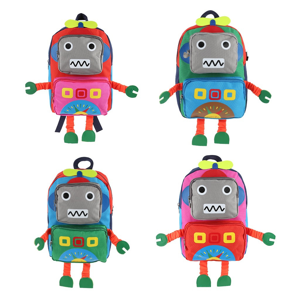 Cartoon Robot Shape Backpack School Bag for Children RED