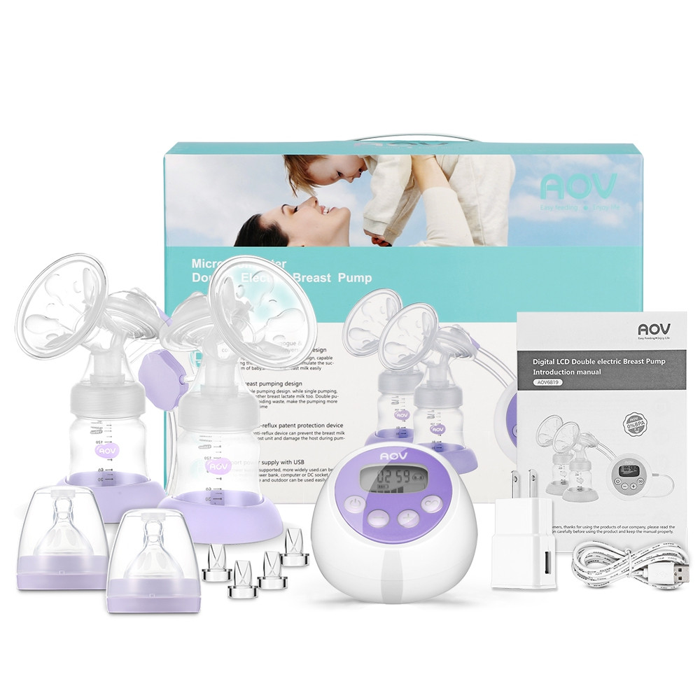 AOV AOV6819 Electric Double-breast Pump Baby Bottle LIGHT PURPLE US PLUG