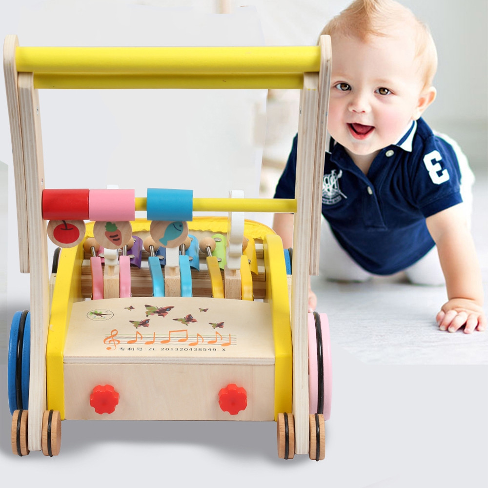 Wooden Walker Hand Push Toy for Toddler MULTI
