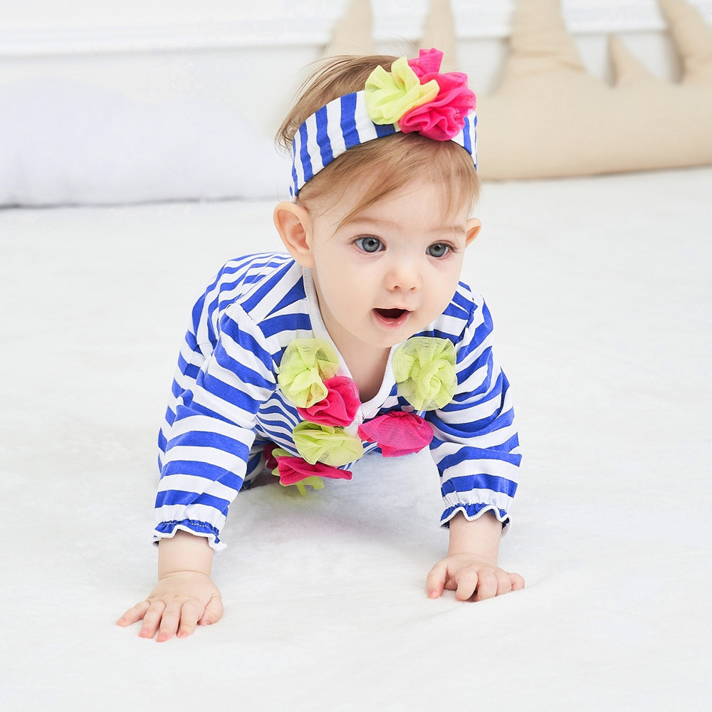 beans fly 2pcs Baby Romper Headband Infant Striped Flowers Jumpsuit Outfits Clothes ROYAL BLUE 3M