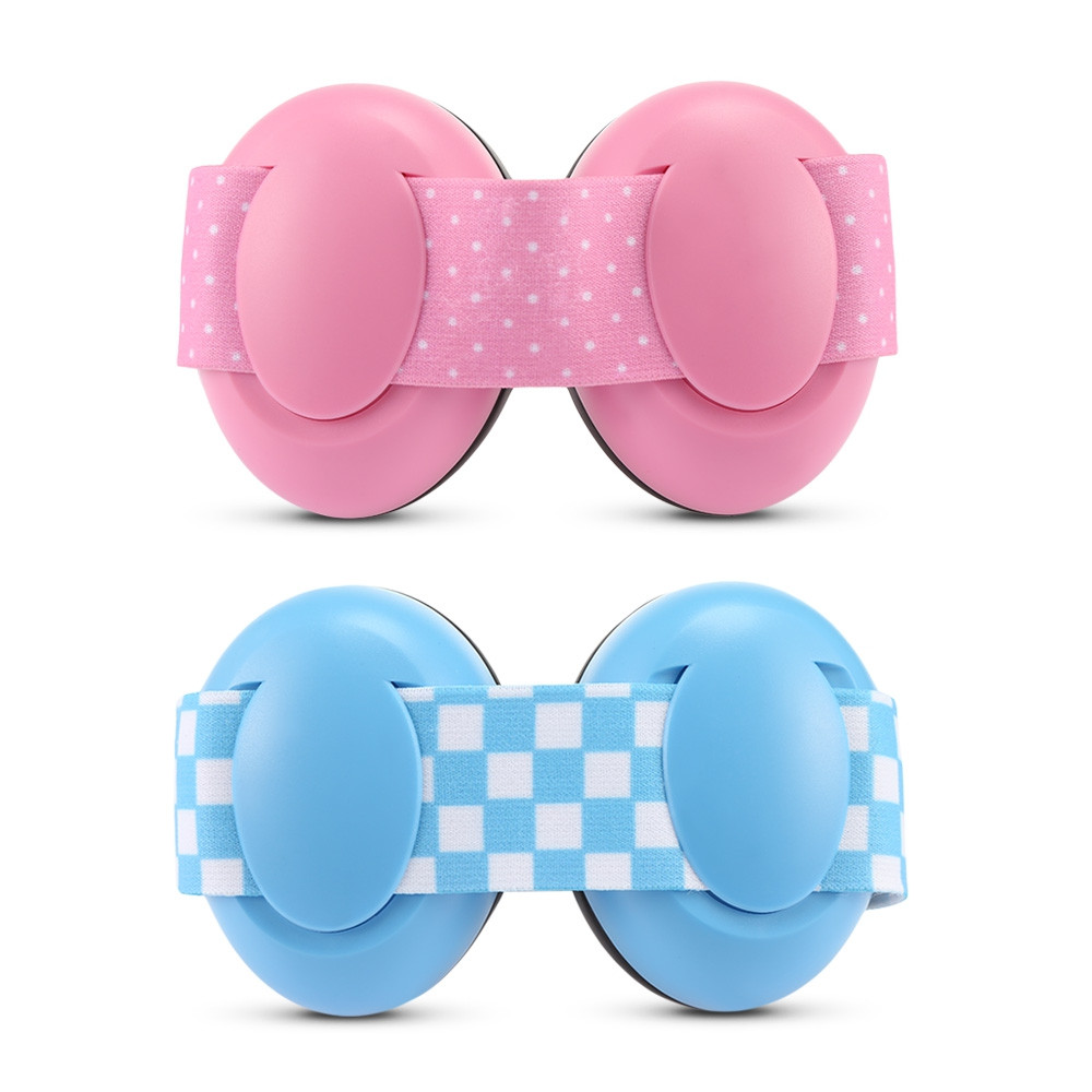 Pair of Infant Baby Anti-noise Earmuffs Elastic Strap Ear Protection  LIGHT PINK