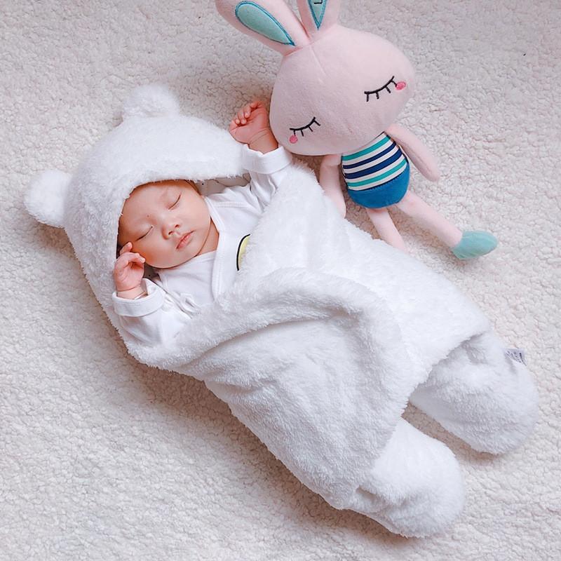 Baby Warm Comfortable Cartoon Envelope Swaddle Winter Wrap Blanket  Unisex lovely WHITE 3X