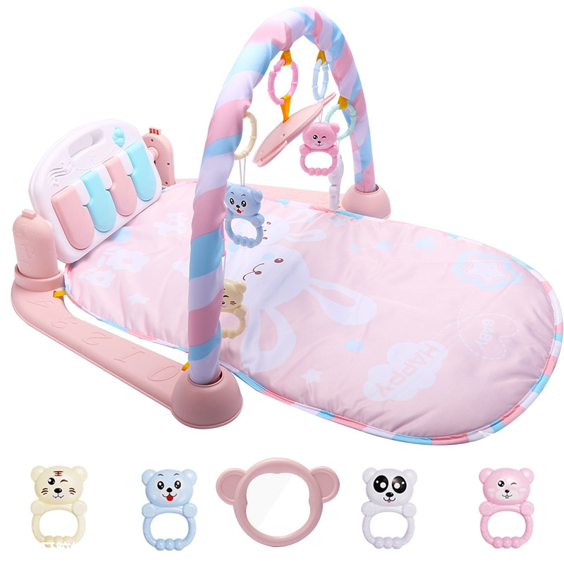 Baby Fitness Play Lay Mat Piano Rack Music Game Blanket Mirror Hanging Toy PINK