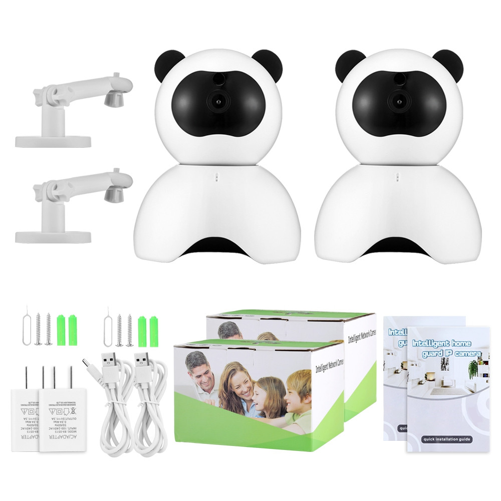 2PCS LY - 100PD6 1080P HD Smart IP Cameras with Night Vision for Home Security WHITE US PLUG (2-PIN)