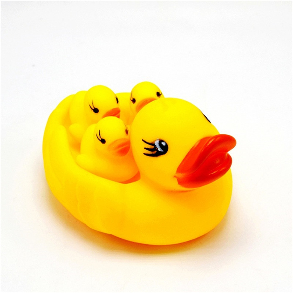 Simulated Duck Silicone Dolls with Hand-pinched Voice for Bathing and Baby Toys YELLOW