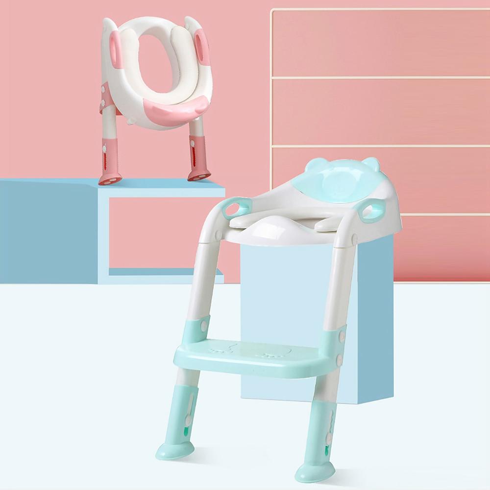 Folding Toilet Ladder Adjustable Trainer Seat Potty for Baby LIGHT AQUAMARINE