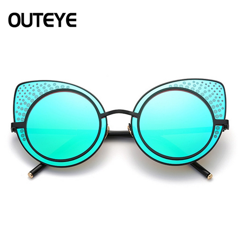 Large Oversized Cat Eye Sunglasses Flat Mirrored Lens Metal Frame Women Fashion COLORFUL RANDOM SIZE