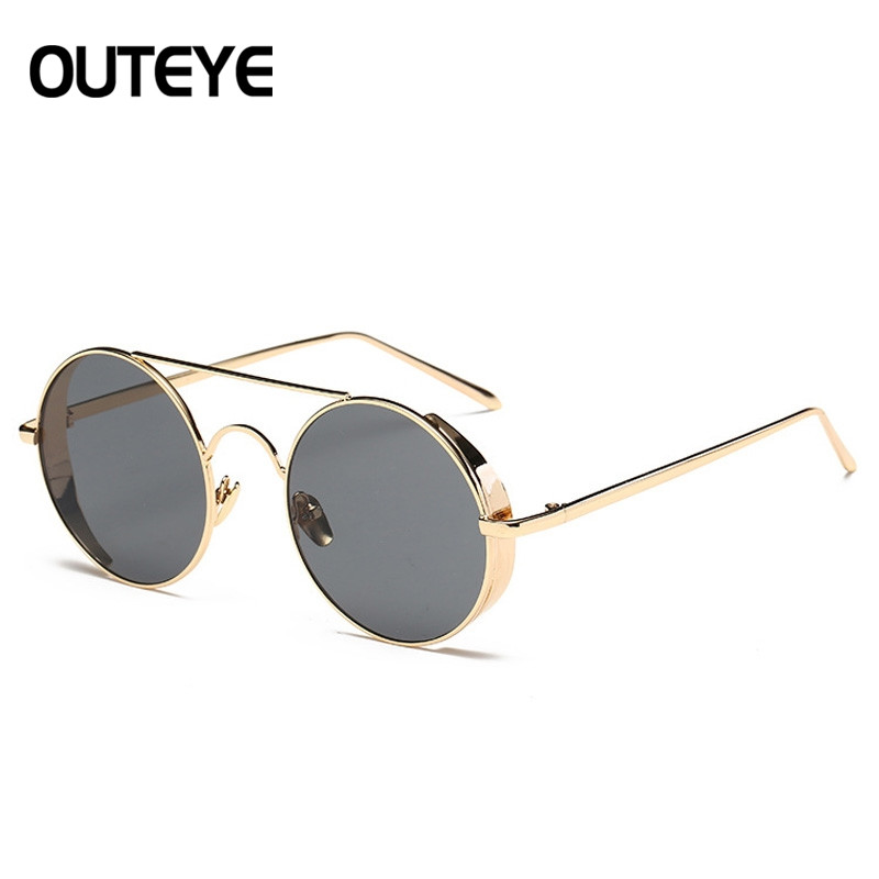 Fashion Round Metal Rim Vintage Polarized Sunglasses Glasses Retro Women Men GRAY RANDOM SIZE