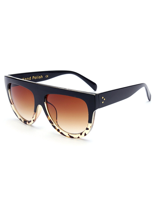 Stylish Leopard Pattern Match Black Sunglasses BLACK