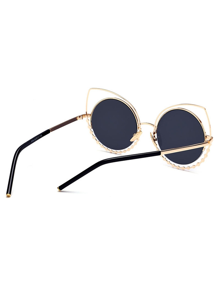 Metal Rhinestone Cat Eye Sunglasses GLOD FRAME + BLACK LENS