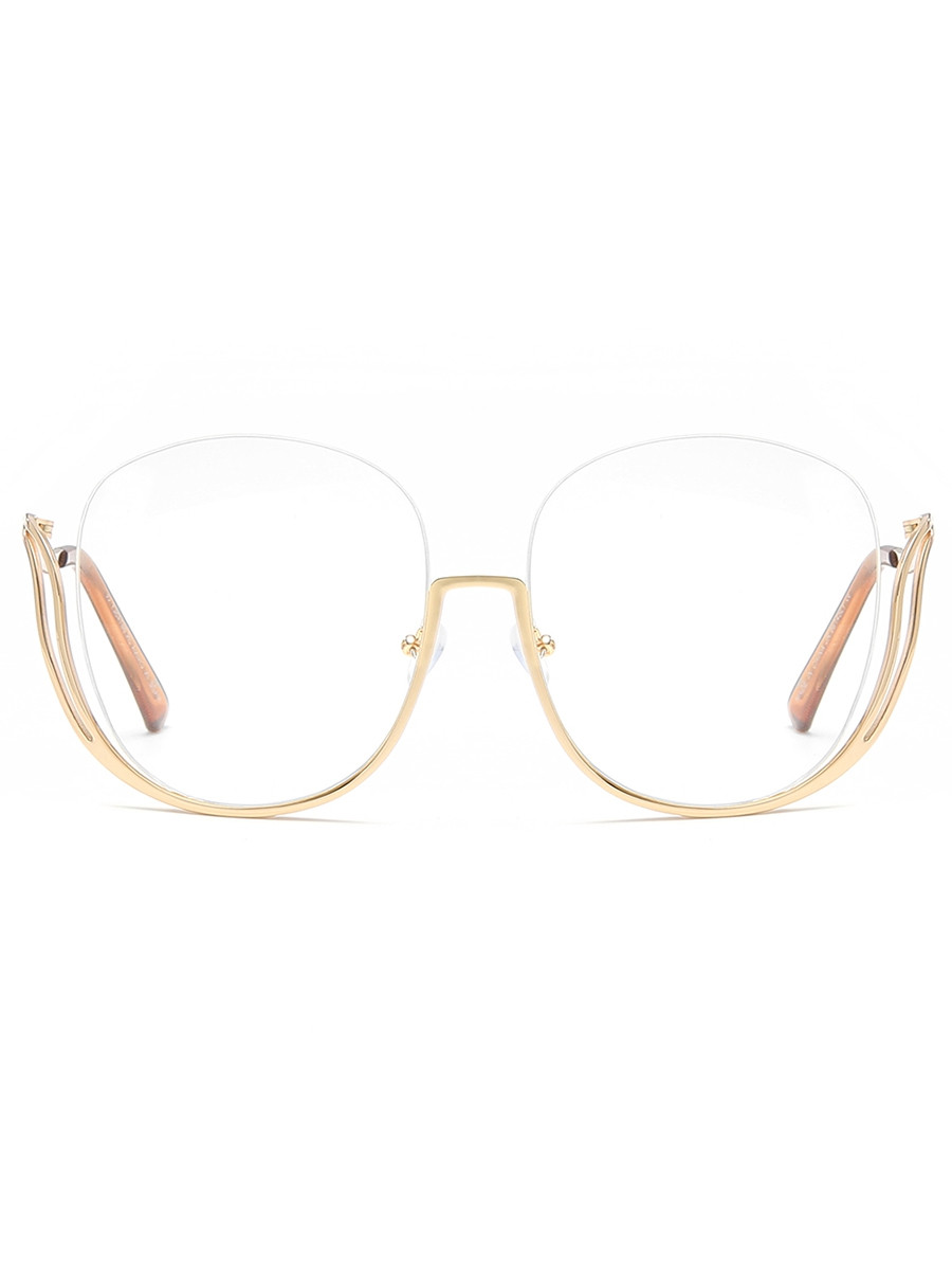 Half Frame Oversized Sunglasses with Curved Legs  GOLDEN