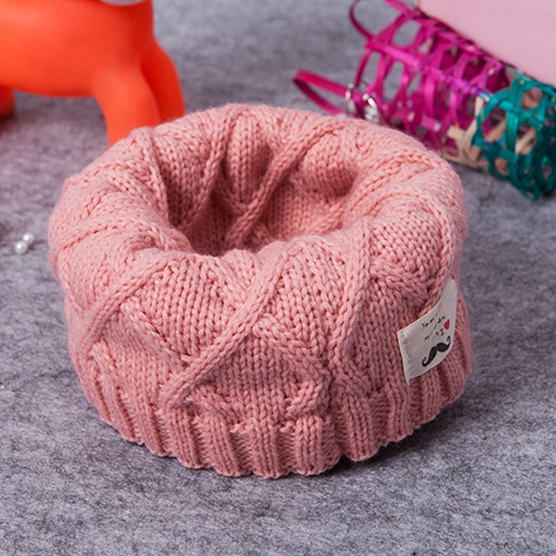 Baby's woolen neck for boys and girls in autumn and winter PINK
