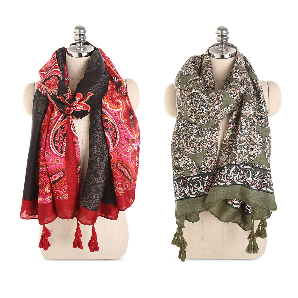 Flowers Print Tassels Vintage Lightweight Oversize Women Scarf Wrap Shawl RED