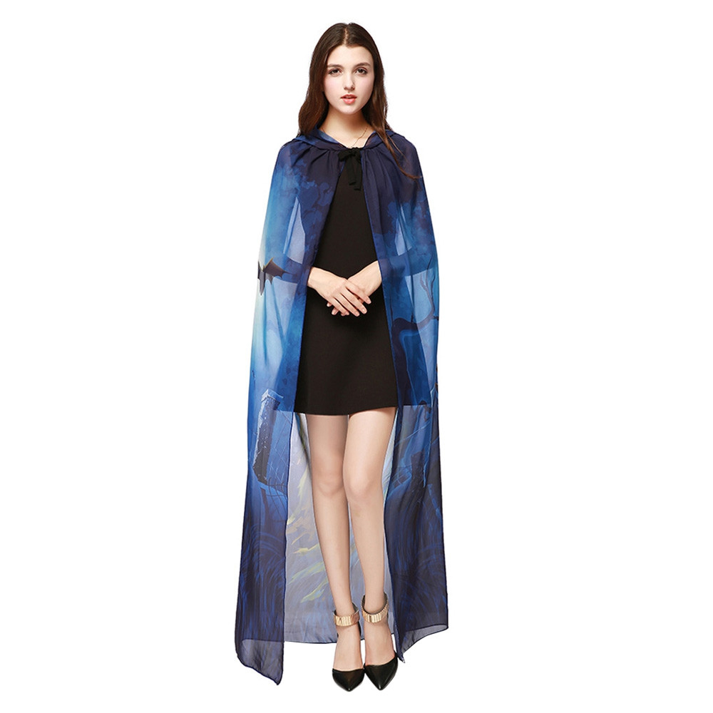 Chiffon Halloween Witch Element Festival Hooded Cape BLUE
