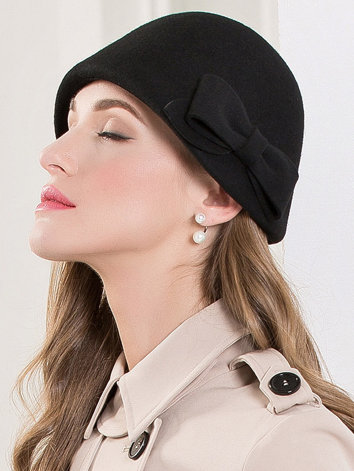 Bowknot Wool Dome Cloche 1920s Hat BLACK