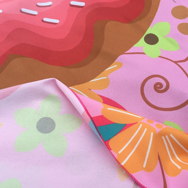 Christmas Flower and Donuts Print Round Beach Throw PINK ONE SIZE