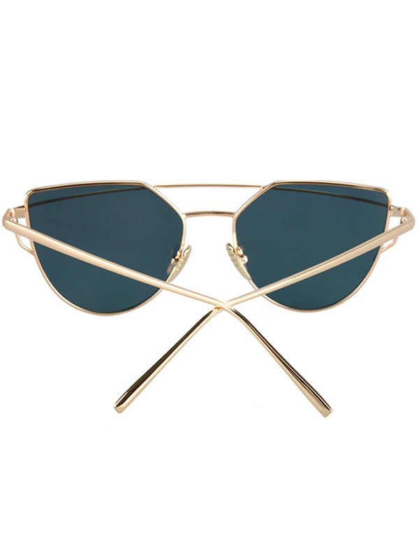 Fashion Metal Bar Golden Frame Pilot Sunglasses For Women GOLDEN