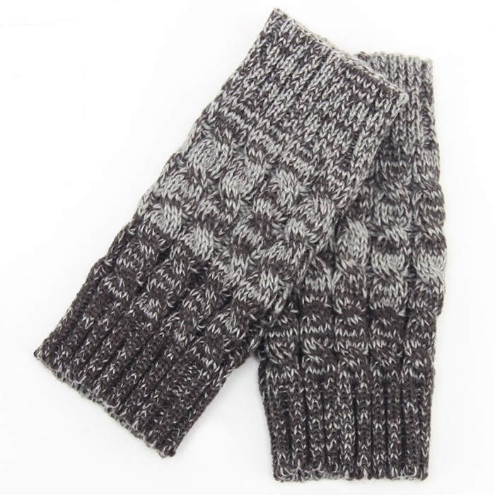 Pair of Chic Crocheted Hemp Flowers Topper Double Sided Knitted Boot Cuffs For Women GRAY