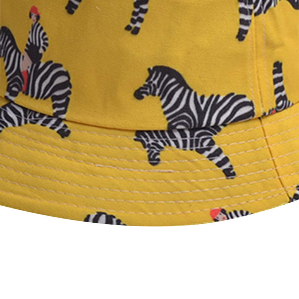 Cartoon Zebra Pattern Bucket Hat YELLOW