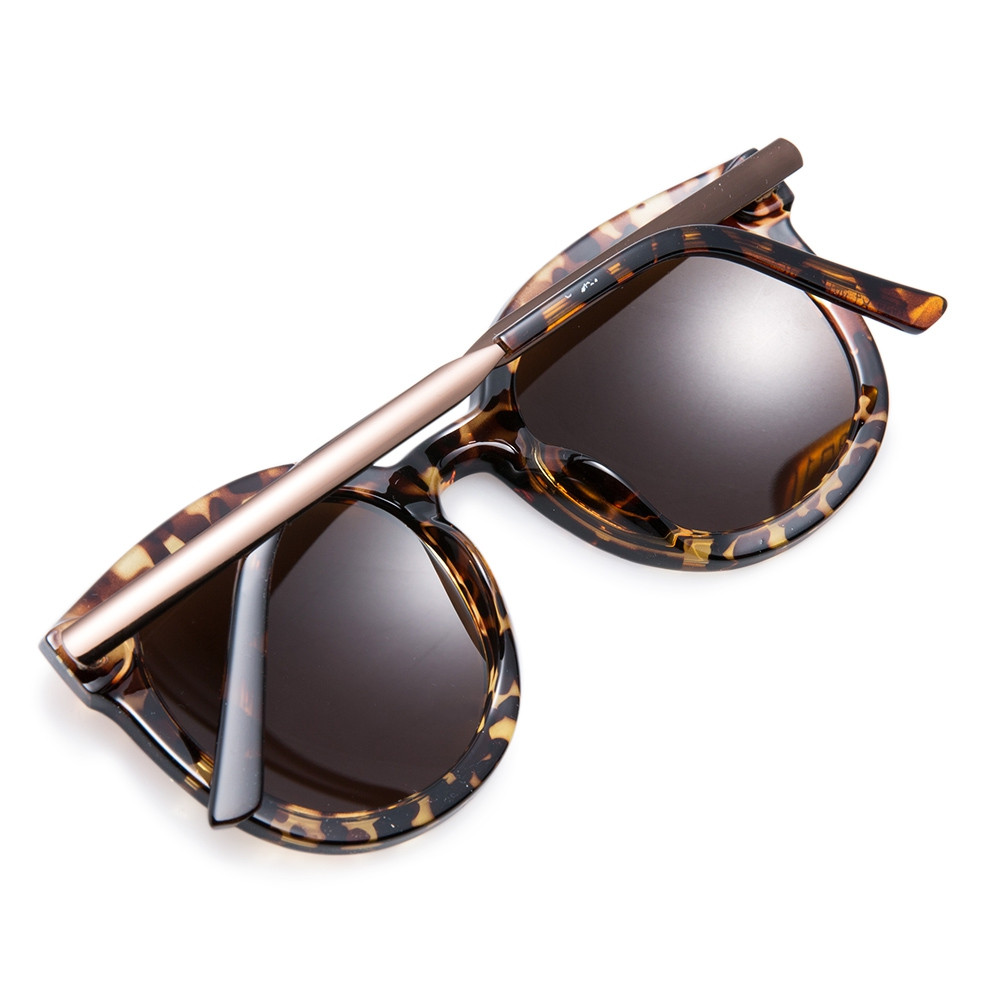 Chic Alloy Splice Leopard Sunglasses For Women BROWN