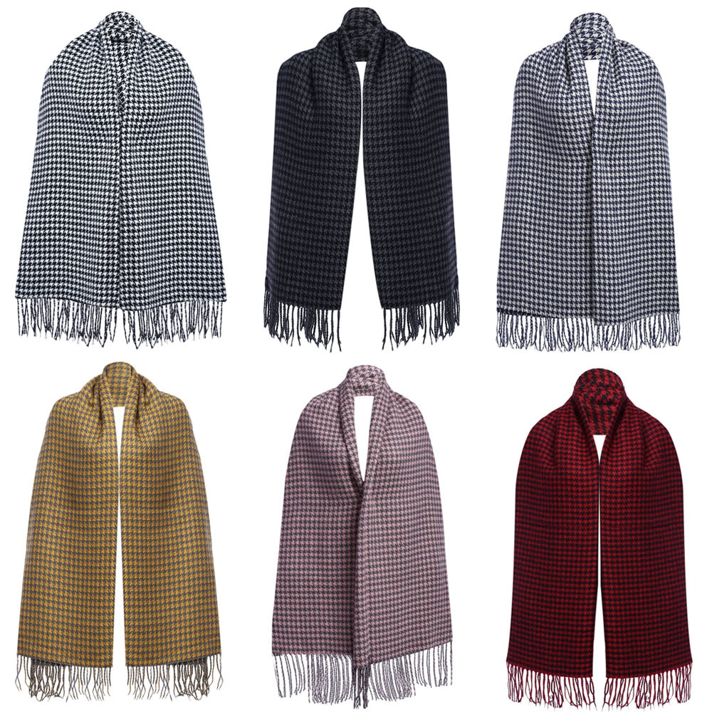 Oversize Tassel Decoration Lattice Design Ladies Warm Scarf WHITE AND BLACK